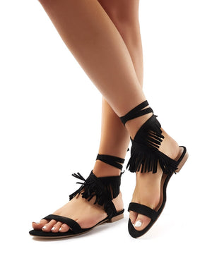 Esme Black Faux Suede Fringed Lace Up Sandals