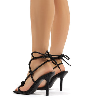Luna Black Strappy Knotted Stiletto High Heels