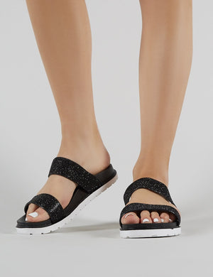 Raye Embellished Slider in Black