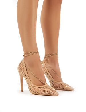 Amara Nude Fishnet Chain Detail Court Heels