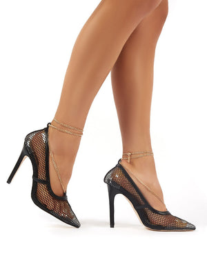 Amara Black Fishnet Chain Detail Court Heels