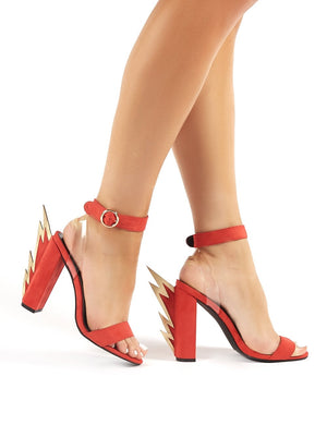 Charged Red Statement Block Heeled Barely Theres