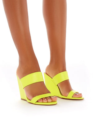 Lena Wedge Heeled Mules in Neon Yellow