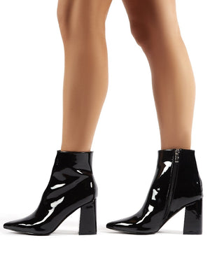Empire Wide Fit Black Patent Pointed Toe Ankle Boots