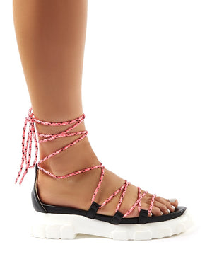 Dynamic Black Neon Pink Lace Up Chunky Sandals