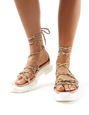 Dynamic Nude Neon Lace Up Chunky Sandals