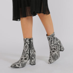 Raya Pointed Toe Ankle Boots in Black Snake Print
