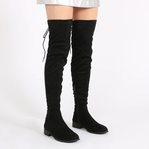 Arya Lace Up Back Flat Long Boots in Black Faux Suede