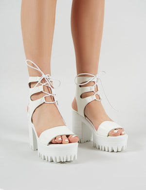 Hailey Lace Up Chunky Heels in White PU