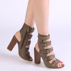 Bree Heeled Sandals in Khaki Faux Suede
