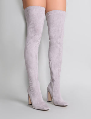 Pernille Over the Knee Boots in Light Grey