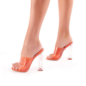 Fushion Perspex Mules in Orange