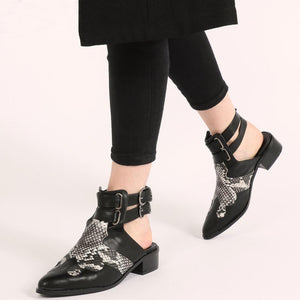 Tegan Western Style Mule Boots in Black and Snake Print