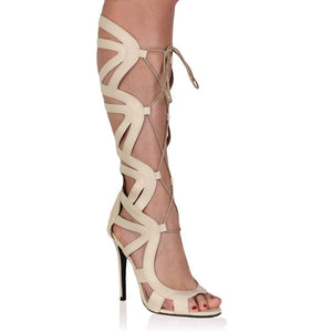 Nada Nude Knee High Lace Up Heels