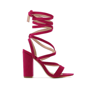 Julia Heels in Berry Faux Suede