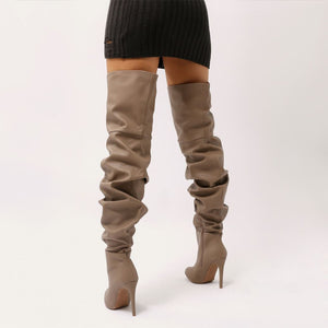 Ciara Over The Knee Slouch Boots in Taupe