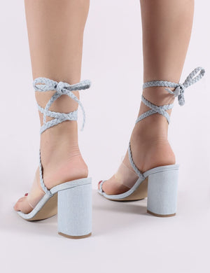 Mia Lace Up Block Heeled Sandals in Lightwash Denim