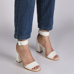 Marlo Buckle High Heels in White