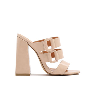 Jersey Triple Strap Flared Block Heel Mules in Nude