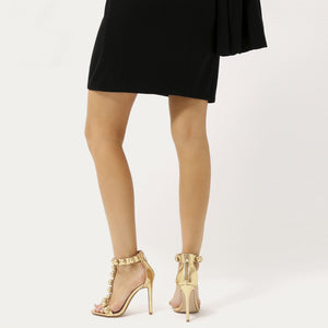 Faded T-bar Dome Stud Stiletto Heels in Gold