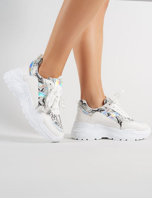 Burn Chunky Trainers in White and Snakeskin