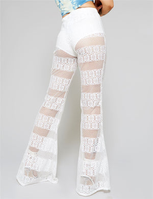 White Crochet Lace Flared Trousers