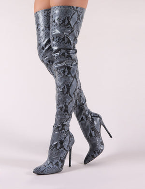 Fleur Over the Knee Boots in Snake Print