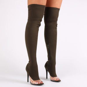 Brooklyn Perspex Detail Over The Knee Boots in Khaki