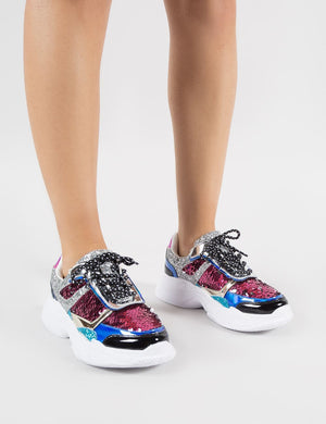 Leona Colourblock Sequin Chunky Trainers