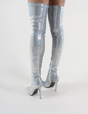 Dazzle Pointed Toe Over The Knee Boots in Silver Sequins