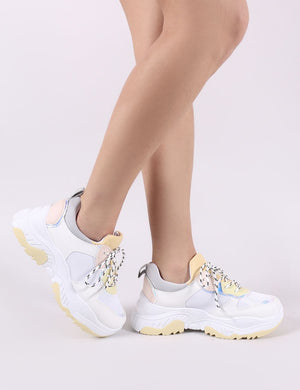 Boe Chunky Trainers in White and Yellow