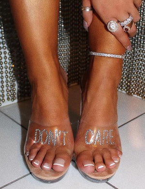 Don't Care Nude Diamante Slogan Perspex Block Heeled Mules