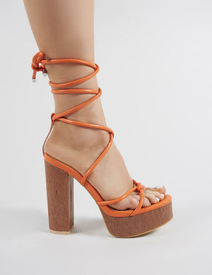 Strut Lace Up Block Heels in Orange PU