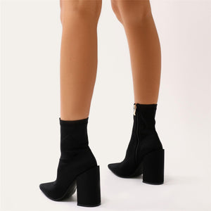 Salt Sock Fit Ankle Boots in Black Stretch