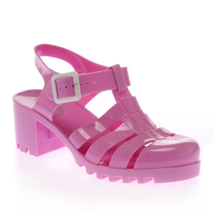 Daisy Lilac Heel Jelly Sandals