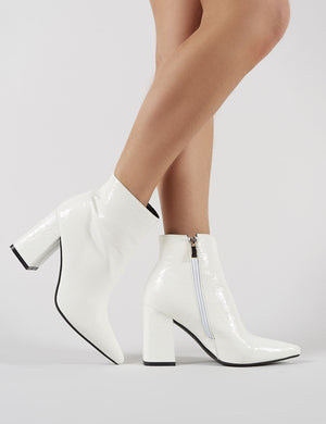 Hollie Pointed Toe Ankle Boots in White Croc