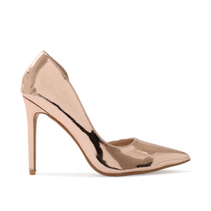 Tipsy Cut Out Court Heels in Rose Gold