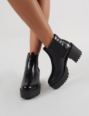 Melia Heeled Chlesea Boots in Black PU