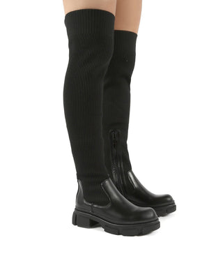 Ivy Knitted Over The Knee Thigh High Chunky Sole Sock Boots