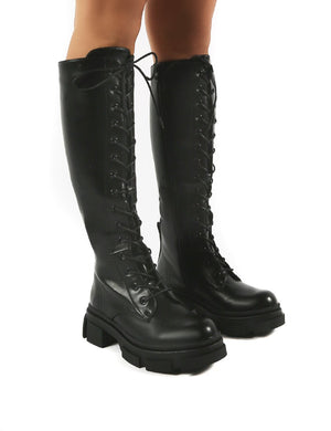 Cameo Black Chunky Sole Lace Up Knee High Boots