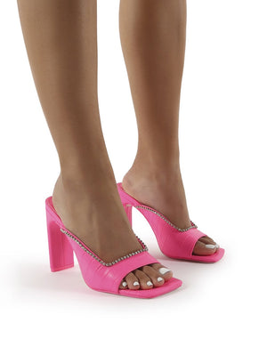 Abella Pink Croc Diamante Square Toe High Heeled Mules