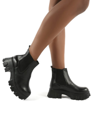 Attain Black PU Chunky Sole Ankle Boots