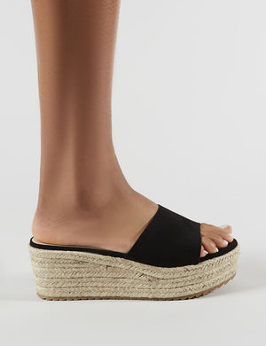 Cami Flatform Espadrille Sliders in Black Faux Suede