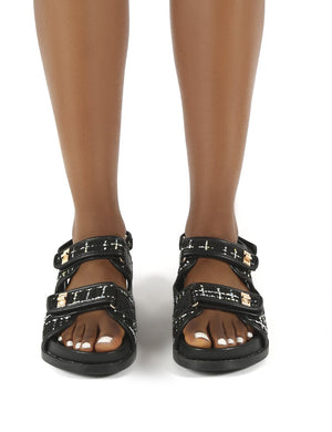 Carmen Black Multi Flat Sandals