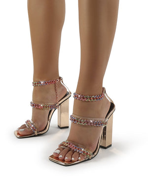 Celebrity Multi Diamante Chain Block Heels