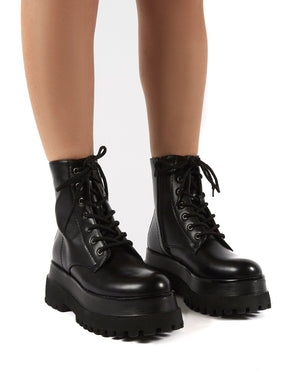 Corporal Black Chunky Sole Ankle Boots