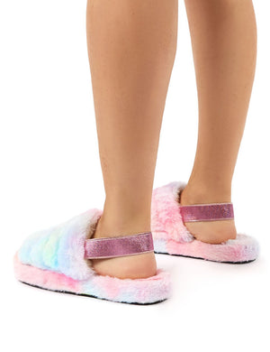 Dreamtime Multi Fluffy Strap Back Slippers