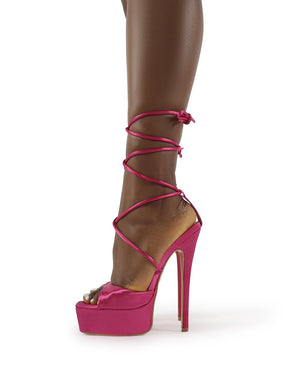 Expose Pink Satin Lace Up Platform Stiletto Heels