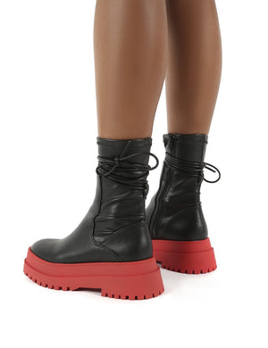 Finale Black Pu Red Chunky Sole Ankle Wrap Boots