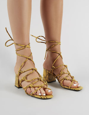 Freya Knotted Strappy Block Heeled Sandals in Mustard Snakeskin